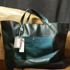PULICATI Italy Black & Teal Leather Tote